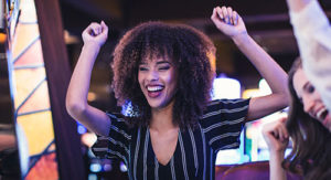 A woman celebrating her win